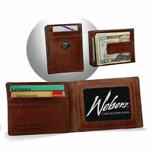 Men's Brown Leather Front Pocket Wallet Gift Buck Concho Caramel Brown Weber USA