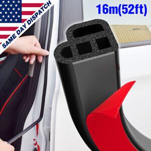 Car 16M/52ft L-Shape Door Trunk Seal Strip Rubber Weather Strip Edge Auto Guard