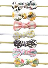Nylon Knot Headbands Prints Lot of 7 Headbands for Baby Girls knot attached