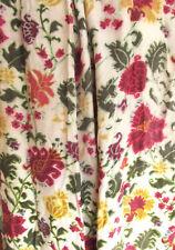 2 Pr Vintage 60s Tapestry Print Curtain Ball Trim Cottage Boho Carpetbag Gypsy