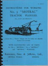 """RANSOMES """"no.3 MOTRAC"""" Trattore Aratro instructon ed elenco parti di ricambio"""