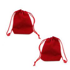 Velvet Gift Bags Red 5.5x7cm Rectangular Pouch Pack Of 10