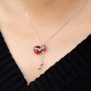 New 925 Sterling Silver Solid Red Agate Crystal Money Bag Lucky Pendant Necklace