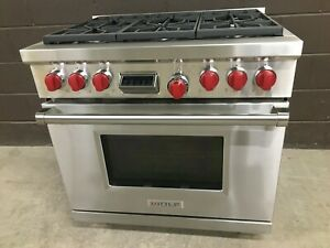 "Wolf DF366 - PRO Dual Fuel 36"" Range Stove 6 Burners Red Knobs"