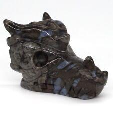 "2"" Natural Texas Llanite Blue Opal Dragon Head Skull/Crystal Healing Reiki"