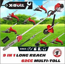 X-BULL 62cc 9in1 Pole Chainsaw Hedge Trimmer Saw Brush Cutter Whipper Snipper