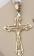 Religious 10k yellow Gold Jesus Crucifix Cross Diamond Cut  Pendant Men Unisex