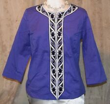 BOB MACKIE WEARABLE ART ZIPS  EMBROIDERED JACKET FRONT POCKETS BEADS VIOLET LAR