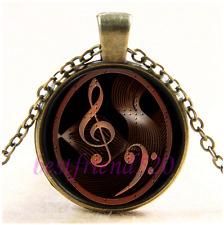 Vintage Steampunk Music Note Cabochon Glass Bronze Chain Pendant Necklace