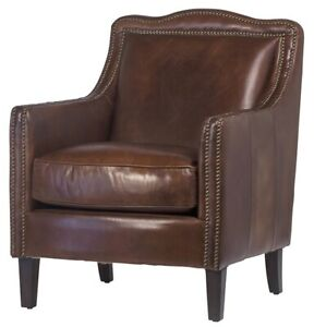 """set of two 27"""" Wide club arm chair vintage brown cigar top grain leather comfort"""