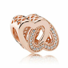 Fashion Rose Gold  Double Love Heart Charm Bead Fit European Bracelet