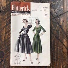 Vintage 1950's Butterick 6737 Misses Décolleté Neckline Dress Sz 12 Bust 30 CUT