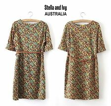 WOMENS VINTAGE BOHO SHIFT DRESS PAISLEY SIZE 12 NEW