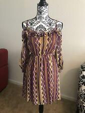 ANTHROPOLOGIE JUDITH MARCH Dress Aztech Trianl Brown Sz 4 6 8 S M