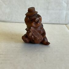 """More details for japanese netsuke """"happy pig"""" carved wooden figure foolhardy and reckless, fun"""