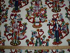 Cotton Fabric Alexander Henry The Tree of Life Skeleton Floral hearts TEA BTY