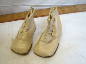 Antique Pair White Victorian Leather Baby Boot Shoes Button Up Booties Bootie
