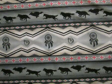 Navajo Native American Totem Wolf Dream Catcher Border Gray Cotton Fabric BTHY