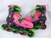 Roller Derby Youth InLine Skates Sz 3-6 Pink Green 5015-6065 11716