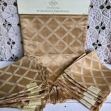 10 New Lenox Laurel Leaf Gold Cloth Napkins & Runner Thanksgiving Table Linens