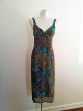Relaxed Style! Tessuto size 6 turquoise and brown dress in excellent condition