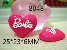 5 x 22MM PINK BARBIE HEART FLAT BACK RESIN HEADBANDS BOWS CARD MAKING PLAQUES