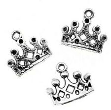 20pcs Charm Vintage Crown Pendant Charms Jewelry Making Antique Silver Charm