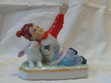 SALE!!!! Boy with rabbit Chinese Vintage Porcelain Figurine Statue  Jingdezhen+2