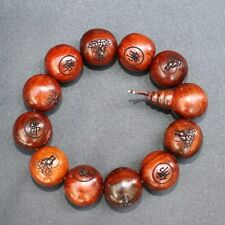 "Huge Tibetan 12 20mm Red Sandalwood Carved Buddha Prayer Beads Mala Bracelet -7"""