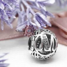 Genuine Pandora, Alphabet Letter Initial, Vintage M, Bracelet Charm NEW 791857CZ