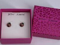 Betsey Johnson Red Enamel Crystal Rhinestone Lady Bug Stud Earrings New In Box