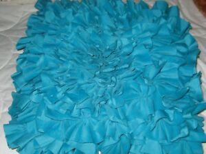 """Cynthia Rowley Turquoise Blue  Ruffle Throw Bed Pillow Square 16"""" x 16"""""""