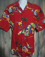 Pacific Legend Hawaiian Aloha Shirt XL Parrots Beer Palm Tree Party Red Shirt