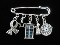 DR WHO PIN BROOCH WITH TARDIS & DALEK. GREAT GIFT IDEA WITH A GIFT BOX OR POUCH