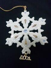 Lenox Ornament 2001 Fine China Snowflake 24k, Swarovski Crystal Nib w/Coa