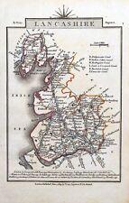 LANCASHIRE John Cary Original  Hand Coloured Miniature Antique County Map 1819