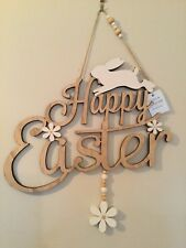 Gisela Graham  Fretwork Wood Happy Easter Plaque with Bunny 33x33cm