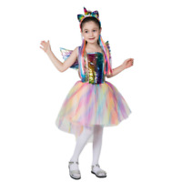 Unicorn Girls Tutu Dress Rainbow Princess Dress Halloween Party Cosplay Costume