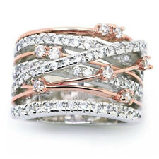Luxurious Rose gold Tow-Tone Engagement Jewelry topaz Promise Ring Size 7