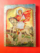 Silver (foil) Oklad Russian Orthodox hand painted icon of St.George