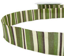 "5 Yards SALE! Earthtones Army Green Brown Ivory Striped Ribbon 1""W"