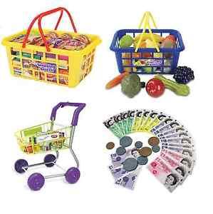 Casdon Food Basket Trolley Shops Little Shopper Pretend Role Play Game Plastic