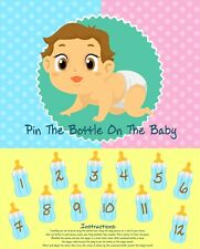 """""""Pin The Bottle On The Baby"""" Game Baby Shower Fun Party Blindfold Favor Poster"""