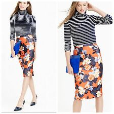 J.Crew Graphic Peony Floral Silk Pencil Skirt Collection 0