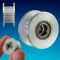 20T ∅5mm Bore 6mm GT2 Belt Smooth Idler Pulley Aluminum w/Bearing for 3D Printer