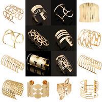 Punk Women Gold Hollow Open Wide Bangle Cuff Bracelet Wristband Fashion Jewelry