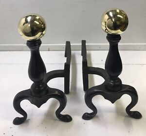 Antique 19th Cent. Brass Ball Andirons Hand Forged Billets SIGNED Victorian, Vtg