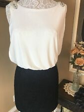 City Triangles Black & White Holiday Cocktail Pearl Embellishment Dress SZ 5