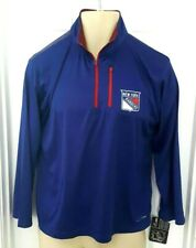 New York Rangers Youth Jacket Size Large Blue Majestic Cool Base Red Accents New