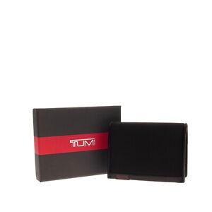 TUMI Bifold Wallet Black Textured Panel ID Window Pocket